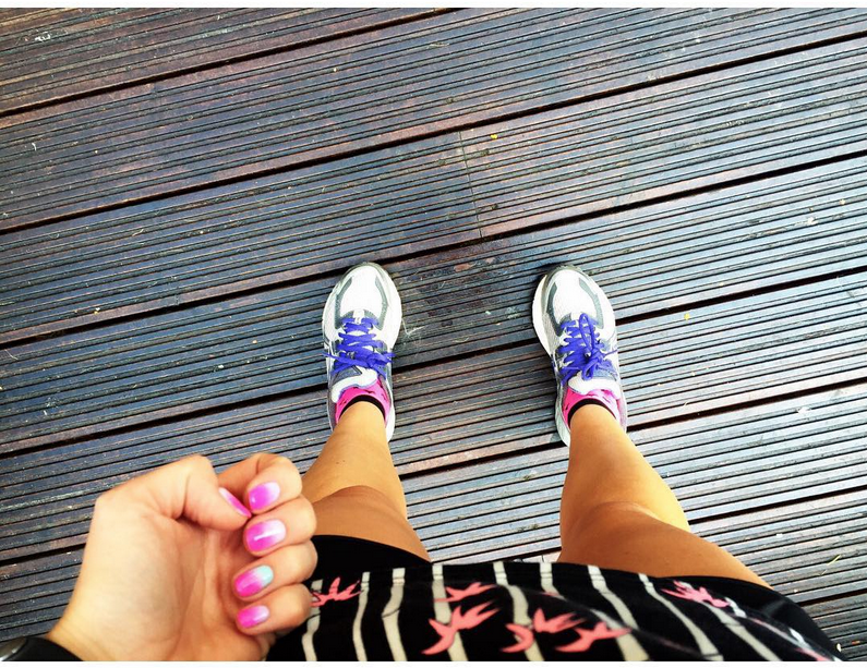 Shorts, Trainers, Matching Nails to the outfit. DONE.